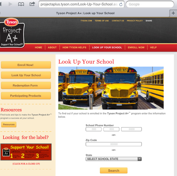 #ad how to know if school particpates on Tyson Project A+