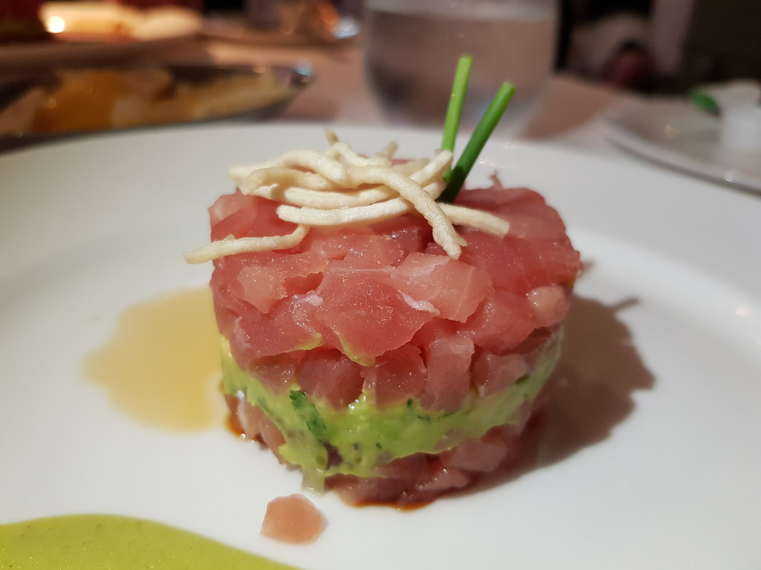 Ahi Tuna and Avocado Tower -- with Crispy Noodles and Wasabi Dressing