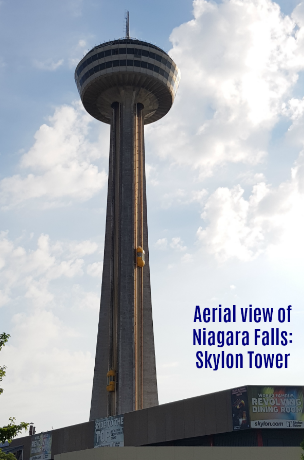 Aerial view of Niagara Falls: Skylon Tower