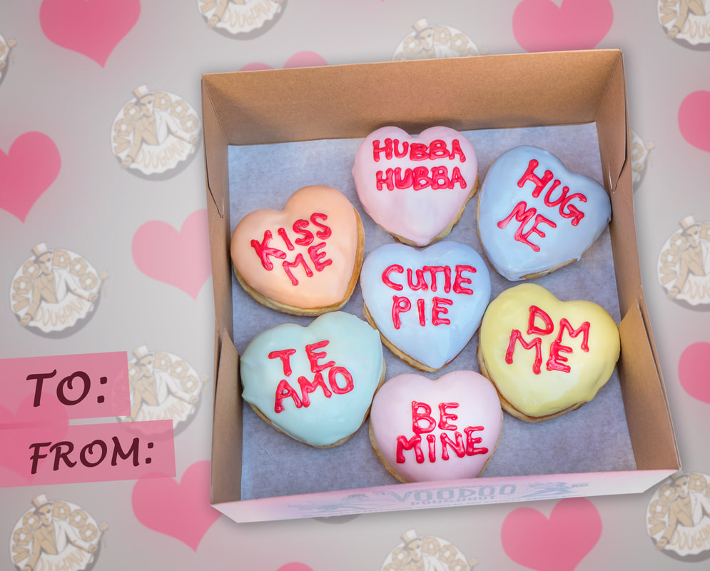 Voodoo Doughnut offering conversation heart doughnuts for Valentine's Day